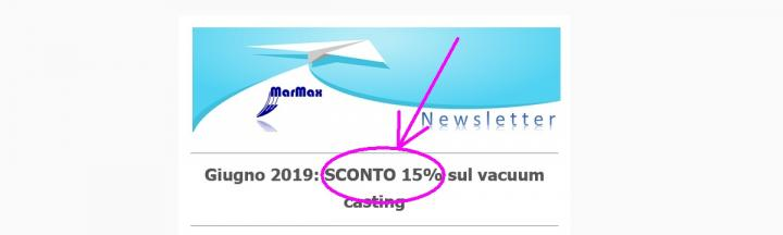 June newsletter about the discount on vacuum casting